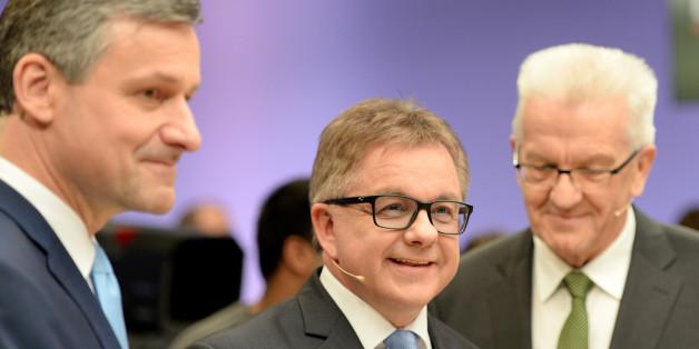 Die Spitzenkandidaten der Parteien Hans-Ulrich Rülke (FDP), Guido Wolf (CDU) und Winfried Kretschmann (Bündnis 90/Die Grünen)