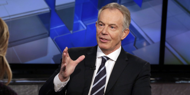 "Former British Prime Minister Tony Blair is interviewed by Maria Bartiromo during her ""Mornings with Maria"" program on the Fox Business Network, in New York on Wednesday, Feb. 24, 2016. (AP Photo/Richard Drew)"