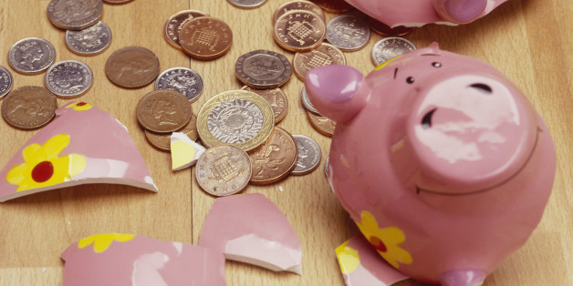 Shattered Coin Bank and Coins