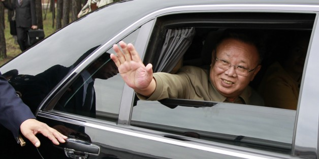 Ulan-ude, russia, august 24, 2011, kim jong-il (kim jong il), the leader of the democratic people's republic of korea (north korea), the chairman of the national defense commission, general secretary of the workers' party of korea, waves from his car after a meeting with russia's president dmitry medvedev at sosnovy bor (pine tree forest) military post in ulan-ude. (Photo by: Sovfoto/UIG via Getty Images)