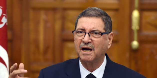 Tunisian Prime Minister Habib Essid delivers a speech following a cabinet meeting on March 8, 2016 in Tunis a day after the attack on the border town of Ben Guerdane. Essid said around 50 extremists were believed to have taken part in Monday's coordinated attack on an army barracks and police and National Guard posts in the border town of Ben Guerdane. / AFP / FETHI BELAID        (Photo credit should read FETHI BELAID/AFP/Getty Images)