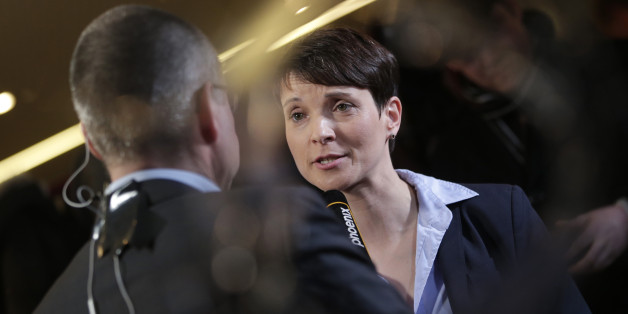 AfD-Chefin Frauke Petry bei einem Interview nach den Landtagswahlen in Sachsen-Anhalt, Baden-Württemberg und Rheinland-Pfalz