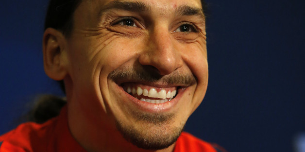 PSG's Zlatan Ibrahimovic speaking during a press conference at Stamford Bridge stadium in London, Tuesday, March 8, 2016, ahead of the Champions League round of 16 second leg soccer match between Chelsea and Paris Saint Germain that will take place at Chelsea's Stamford Bridge ground in London, Wednesday. (AP Photo/Alastair Grant)
