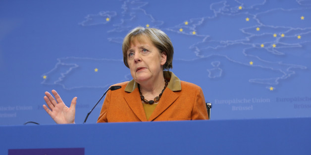 German Chancellor Angela Merkel gestures while speaking during a media conference at an EU summit in Brussels on Tuesday, March 8, 2016. European Union leaders said early Tuesday they reached the outlines for a possible deal with Ankara to return thousands of migrants to Turkey and said they were confident a full agreement could be reached at a summit next week. (AP Photo/Francois Walshaerts)