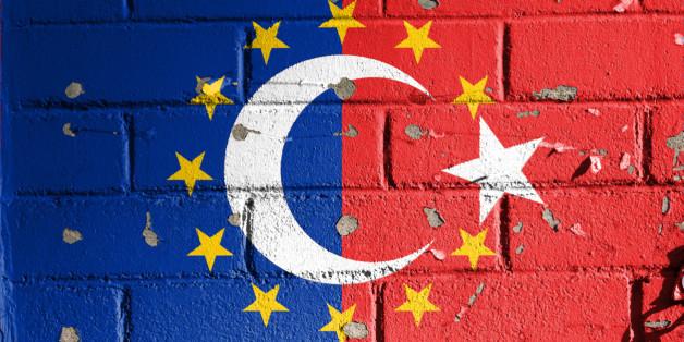 European Union and Turkey flag.
