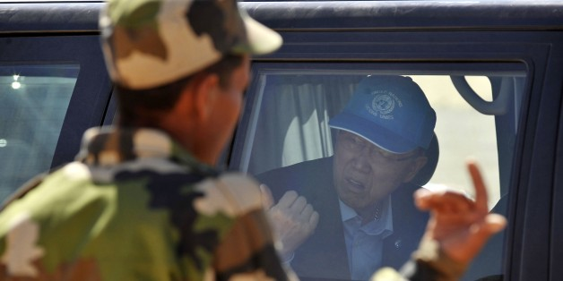 United Nations secretary-general Ban Ki-moon in car arrives the Smara refugees camp near Tindouf, south-western Algeria, Saturday, March 5, 2016. Ban Ki-moon will meet with leaders of the Polisario Front, the organization disputing sovereignty over Western Sahara with Morocco, in the hope to help solving a 40-year conflict. (AP Photo/Toufik Doudou)