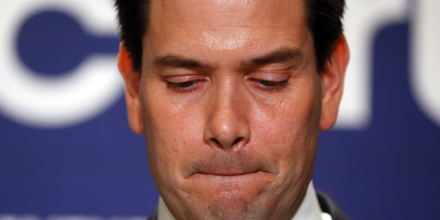 Republican presidential candidate Sen. Marco Rubio, R-Fla., speaks during a Republican primary night celebration rally at Florida International University in Miami, Fla., Tuesday, March 15, 2016. Rubio is ending his campaign for the Republican nomination for president after a humiliating loss in his home state of Florida. (AP Photo/Paul Sancya)
