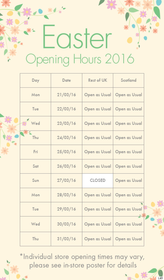 tesco easter 2016 opening hours plus asda sainsbury 39 s. Black Bedroom Furniture Sets. Home Design Ideas