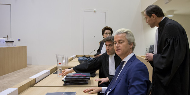 Firebrand Dutch lawmaker Geert Wilders, second right, appeared in court for a pretrial hearing at a high-security court on charges of inciting hatred, in  Amsterdam, Netherlands, Friday, March 18, 2016. (AP Photo/Peter Dejong)