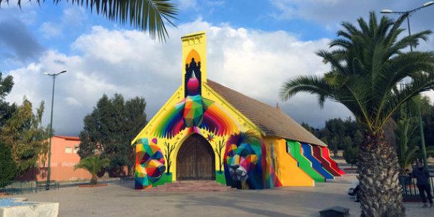 L'ancienne église de Youssoufia repeinte par le street artiste Okuda San Miguel (PHOTOS)
