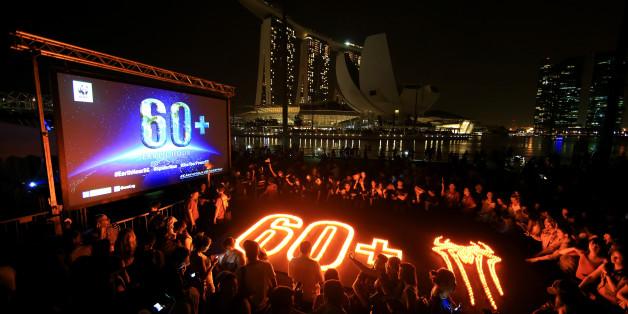 Singapur plötzlich in Dunkelheit gehüllt zur Earth Hour im Jahr 2014