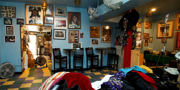 The back room of  the Ernie K-Doe Mother-In-Law Lounge in New Orleans with items piled in the foreground in preparation for the garage sale planned for Saturday on Wednesday, Sept. 2, 2009. The lounge  was owned by recording artist Ernie K-Doe, the Emperor of the Universe.  K-Doe and his wife Antoinette K-Doe have died , and the lounge is now run by Ernie K-Doe's stepdaughter Betty Fox. ( AP Photo/Judi Bottoni )