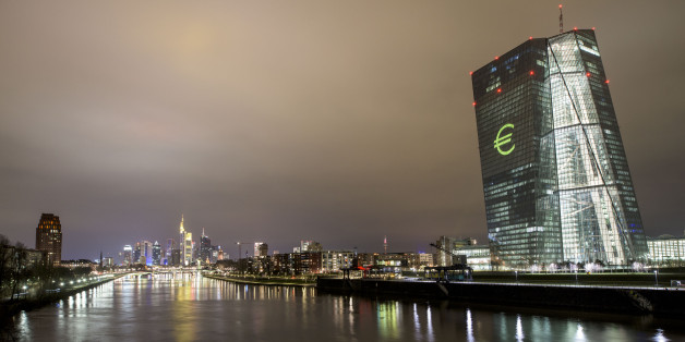FRANKFURT AM MAIN, GERMANY - MARCH 12: Under the motto ÒUnited in diversityÓ the ECB buildings is illuminated by a 'symphony of light' based on Ludwig van BeethovenÕs ÒOde to JoyÓ on March 12, 2016 in Frankfurt am Main, Germany. Up to 200 lighting events transform Frankfurt and Offenbach/Main into an international metropolis of light from 13. to 18.3.2016. In showrooms, galleries, museums, churches, stations, parks and in other, more unusual places, exhibitors at Light + Building trade fair, lighting designers, architects, artists and various initiatives and action groups will be presenting their innovative lighting projects at Luminale 2016, the eighth âBiennale' of Lighting Culture. (Photo by Thomas Lohnes/Getty Images)