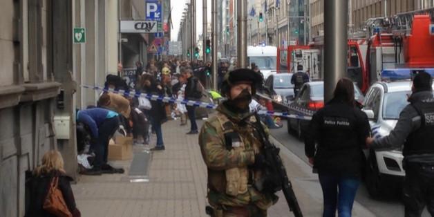Eine Straßenszene in Brüssel nach dem Anschlag mit mindestens 34 Toten.