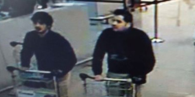 In this image provided by the Belgian Federal Police in Brussels on Tuesday, March 22, 2016 of three men who are suspected of taking part in the attacks at Belgium's Zaventem Airport. The man at right is still being sought by the police and two others in the photo that the police issued were according to a the Belgian Prosecutors 'probably' suicide bombers. Bombs exploded at the Brussels airport and one of the city's metro stations Tuesday, killing and wounding scores of people, as a European ca