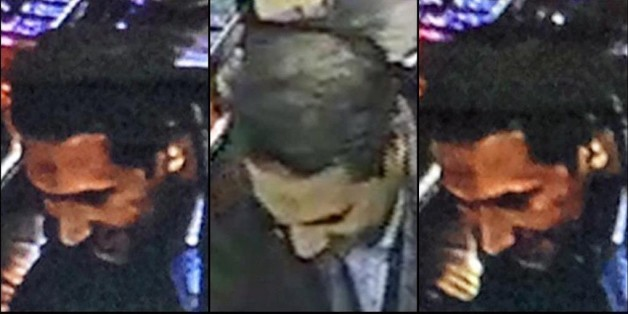 In this image provided by the Belgian Federal Police on Monday, March 21, 2016, a combo photograph shows Najim Laachraoui, who was previously identified in a false passport as Soufiane Kayal by Belgium Federal Police, during a money transfer on Nov. 17, 2015 in a Western Union bank in the Brussels region of Belgium. Federal police state that Najim Laachraoui was also seen on Sept. 9 , 2015 at the Hungarian-Austrian border with Samir Bouzid and fugitive Salah Abdeslam, one of the suspects of the