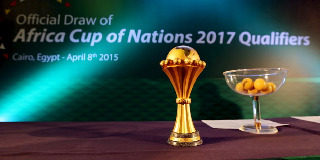 The African Cup of Nations trophy sits on display during an event to announce the host nation of the 2017 tournament and qualifiers draw, in Cairo April 8, 2015. Gabon were named on Wednesday as the hosts of the next African Nations Cup finals in 2017. REUTERS/Mohamed Abd El Ghany