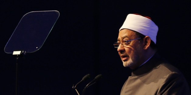 Egyptian Grand Sheikh of Al-Azhar, Ahmed al-Tayyeb speaks during the opening session of a two-day forum entitled 'Promoting Peace in Muslim Societies' on March 9, 2014 in Abu Dhabi. AFP PHOTO/KARIM SAHIB        (Photo credit should read KARIM SAHIB/AFP/Getty Images)