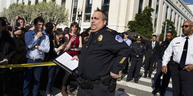 Capitol Hill Police Chief Matthew Verderosa arrives to brief reporters on Capitol in Washington, Monday, March 28, 2016. Capitol Police officers say a man was shot by police after drawing a weapon at a U.S. Capitol checkpoint. He was taken to the hospital.  (AP Photo/Cliff Owen)