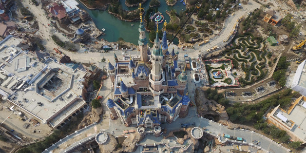 SHANGHAI, CHINA - MARCH 27:  (CHINA OUT) Aerial view of the Shanghai Disneyland Park under construction on March 27, 2016 in Shanghai, China. Shanghai Disneyland Park sold ticket from Monday and would open on June 16.  (Photo by VCG/VCG via Getty Images)
