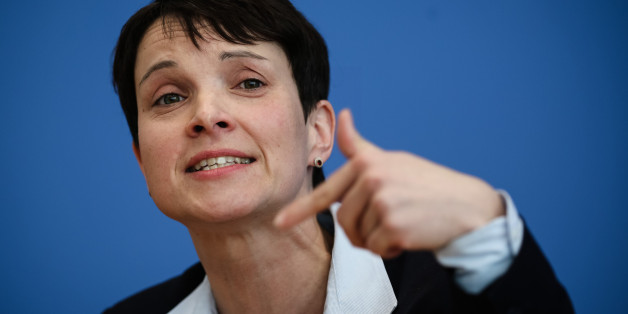 BERLIN, March 14, 2016 -- Frauke Petry, head of Germany's anti-migration party, the Alternative for Germany, attends a press conference with other leaders of the party in Berlin, on March 14, 2016. Eligible German voters cast their ballots on Sunday in the southwestern states of Baden-Wuerttemberg and Rhineland-Palatinate as well as eastern Saxony-Anhalt to elect three new regional parliaments. The AfD recorded remarkable gains in the elections and was able to break into all three state parliame