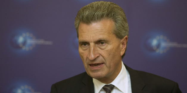 European Commissioner for Energy Gunther Oettinger attends a news conference in Minsk August 26, 2014. REUTERS/Vasily Fedosenko  (BELARUS - Tags: POLITICS)