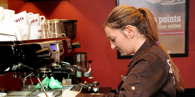 Michaela Seidnerova on her first day at work at Costa coffee in Mapperley, Nottingham.