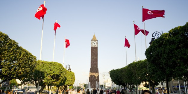 Tunisians flags fly on October 19, 2011 on a street leading to the Clock square in the center of Tunis. Arab states that were once transfixed by the January revolt in Tunisia are now more focused on their internal crises than the historic October 23 elections in the tiny north African state. Tunisians are to elect members of an assembly that will write a new constitution for the country, nine months after strongman Zine el Abidine Ben Ali was ousted in protests that spread to countries across the region.  AFP PHOTO / LIONEL BONAVENTURE (Photo credit should read LIONEL BONAVENTURE/AFP/Getty Images)