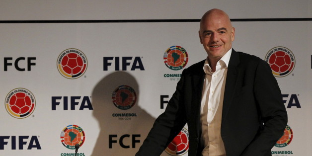 FIFA President Gianni Infantino arrives for a news conference at the Colombian Football Confederation headquarters in Bogota, Colombia, March 31, 2016. REUTERS/John Vizcaino
