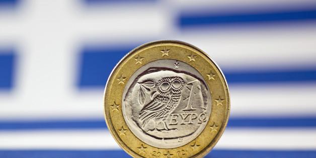 Greek 1 Euro coin, Flag of Greece