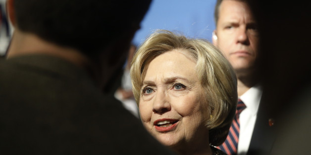 Democratic presidential candidate Hillary Clinton meets with attendees Wednesday, April 6, 2016, at the Pennsylvania AFL-CIO Convention in Philadelphia. (AP Photo/Matt Rourke)