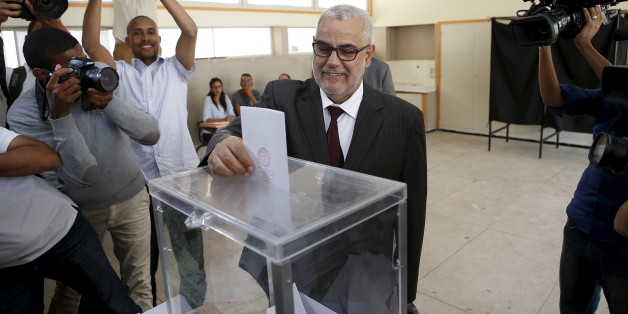 Abdelillah Benkirane, secretary-general of the Islamist Justice and Development party (PJD), casts his ballot at a polling station in Rabat September 4, 2015.  Morocco's ruling Islamist party on Friday faced a major test of its dominance as polls opened for local elections for which most opposition parties have campaigned on anti-corruption platforms and against privileges for the elite. REUTERS/Youssef Boudlal