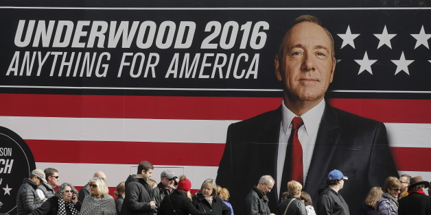 """People line up outside a """"House of Cards""""  guerrilla marketing campaign in Greenville, South Carolina, February 12, 2016. Actor Kevin Spacey plays the role of Frank Underwood in the Netflix series.  REUTERS/Carlo Allegri"""