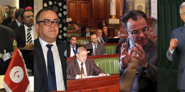 De gauche à droite: Chadly Ayari, gouverneur de la Banque centrale, Hatem El Euchi, ministre des Domaines de l'Etat et des affaires foncières, l'Assemblée des représentants du peuple, Slim Chaker, ministre des Finances, et Amor Mansour, ministre de la Justice.