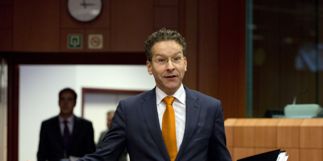 Dutch Finance Minister Jeroen Dijsselbloem gestures as he arrives for a meeting of eurogroup finance ministers at the EU Council building in Brussels on Thursday, Jan. 14, 2016. Finance ministers from the nations using the euro met in Brussels Thursday to discuss progress on Greece's economic reform program and the results of a review of measures taken by Cyprus to bring its budget into line.(AP Photo/Virginia Mayo)