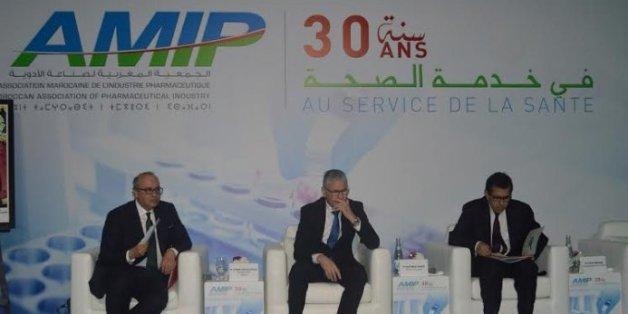 De gauche à droite: Ayman Cheikh-Lahlou, président de l'AMIP, El Houssaine Louardi, ministre de la Santé et Faiçal Mekouar, vice-président général de la CGEM.