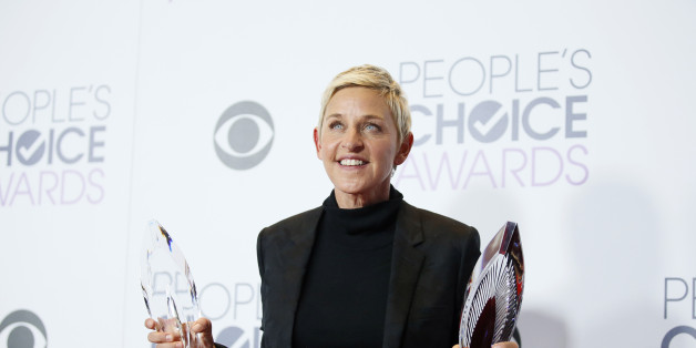 Ellen DeGeneres poses backstage with her Humanitarian Award and Award for Favorite Daytime TV Host during the People's Choice Awards 2016 in Los Angeles, California January 6, 2016.  REUTERS/Danny Moloshok