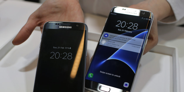 "FILE - In this Sunday, Feb. 21, 2016, file photo, a Samsung Galaxy S7, left, and S7 Edge are displayed during the Samsung Galaxy Unpacked 2016 event on the eve of the Mobile World Congress wireless show, in Barcelona, Spain. In a study released Monday, March 14, 2016, SquareTrade, a company that offers extended-protection plans for gadgets, said the Galaxy S7 and S7 Edge still functioned after being submerged in water for 30 minutes. Audio was ""permanently muffled and distorted"" after the dunking, but the Samsung phones still outlasted Apple's iPhones in SquareTrade's water tests. (AP Photo/Manu Fernandez, File)"