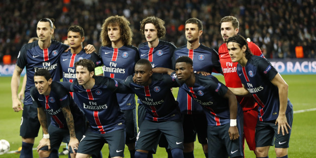 Football Soccer - Paris St Germain v Manchester City - UEFA Champions League Quarter Final First Leg - Parc des Princes, Paris, France - 15/16 - 6/4/16PSG line up before the gameAction Images via Reuters / John SibleyEDITORIAL USE ONLY.