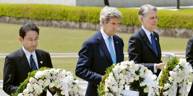 U.S. Secretary of State John Kerry (2nd L) prepares to lay a wreath at the cenotaph with Japan's Foreign Minister Fumio Kishida (L), Britain's Foreign Minister Philip Hammond and other fellow G7 foreign ministers at Hiroshima Peace Memorial Park and Museum in Hiroshima, Japan, in this photo released by Kyodo April 11, 2016. Mandatory credit REUTERS/Kyodo  ATTENTION EDITORS - FOR EDITORIAL USE ONLY. NOT FOR SALE FOR MARKETING OR ADVERTISING CAMPAIGNS. MANDATORY CREDIT. JAPAN OUT. NO COMMERCIAL OR