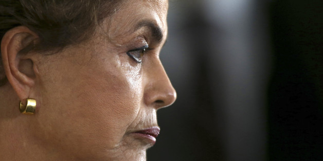 President Dilma Rousseff attends a news conference after visiting the new Embraer KC 390 military transport aircraft in Brasilia, Brazil April 5, 2016. REUTERS/Adriano Machado