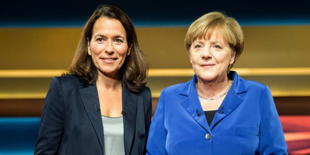 Merkel und Will. WIll berichtet von Bombendrohung.
