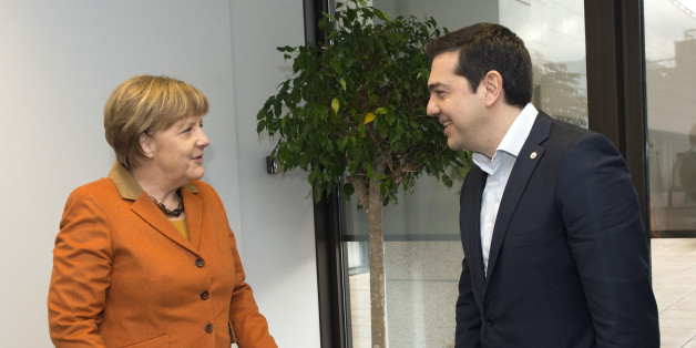 German Chancellor Angela Merkel, left, speaks with Greek Prime Minister Alexis Tsipras during a meeting on the sidelines of an EU summit in Brussels on Monday, March 7, 2016. European Union leaders arrived in Brussels Monday to press Turkey to do more to stop migrants entering Europe and to shore up support for Greece, where thousands of people are stranded.(John Thys, Pool Photo via AP)
