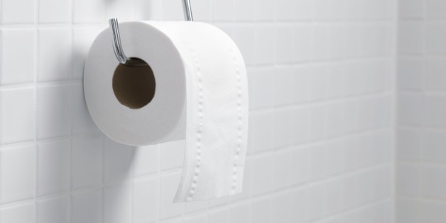 Toilet paper holder and roll.
