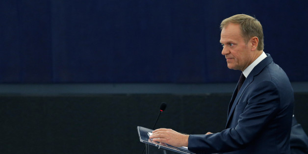 European Council President Donald Tusk addresses the European Parliament during a debate on the conclusions of last March 17 and 18 European Council meeting and the outcome of the EU-Turkey summit, at the European Parliament in Strasbourg, France, April 13, 2016. REUTERS/Vincent Kessler