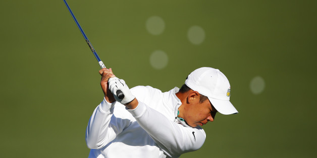 AUGUSTA, GEORGIA - APRIL 05:  Cheng Jin of China hits on the practice range during a practice round prior to the start of the 2016 Masters Tournament at Augusta National Golf Club on April 5, 2016 in Augusta, Georgia.  (Photo by Kevin C. Cox/Getty Images)