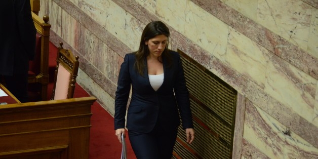 ATHENS, GREECE - 2015/07/15: President of the Greek parliament Zoi Konstantopoulou. Greek Lawmakers vote  on the acceptance of a New Memorandum between the Greek government and its creditors about the Greek debt. (Photo by George Panagakis/Pacific Press/LightRocket via Getty Images)