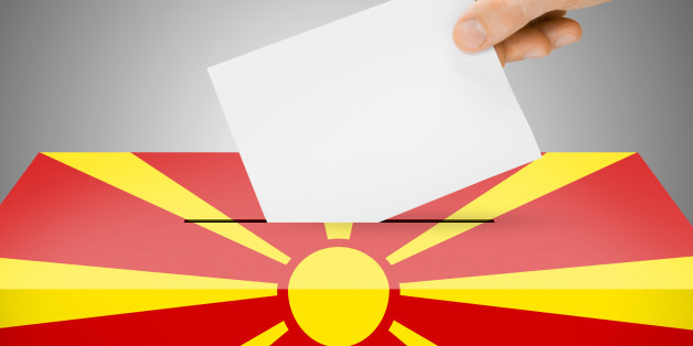 Ballot box painted into national flag colors - Republic of Macedonia