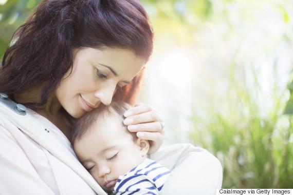 hugging baby girl