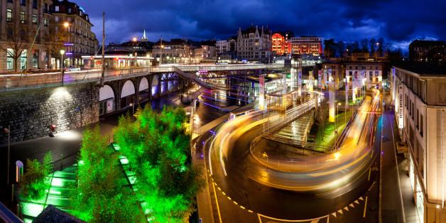 Centre ville et zone attractive de la ville de Lausanne, capitale vaudoise, Suisse